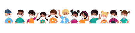 Kids with mask. Children in medical masks for protect disease, flu, smog and covid-19. Multiethnic group boys and girls stop spread viruses in school, beware epidemic cartoon flat vector illustration