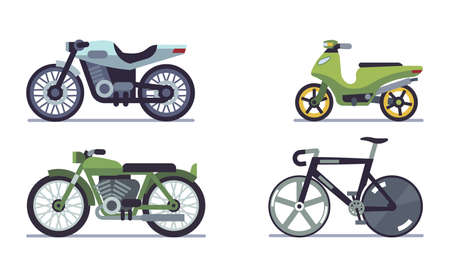 Set of vehicles. Motorcycles of different models, bicycle and motor scooter for city road racing, mountain bike and delivery moped speed race vehicle travel and sport flat vector motor transport set