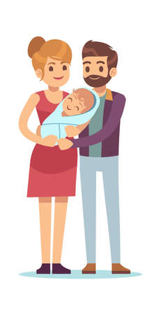 Happy parent with newborn. Mom and dad stand with kid, husband and wife hugging baby, young smiling family parenthood and pregnancy concept vector cartoon flat characters isolated on white background