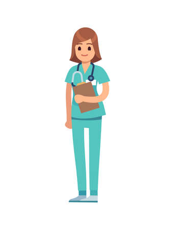 Medical staff woman. Doctor or female nurse in green uniform and stethoscope, surgeon or pharmacist standing and smiling, dentist professional medic occupation, flat vector cartoon isolated character