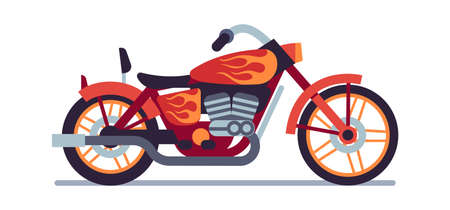 Motorbike. Red biker motorcycle with orange flame graffiti, classic vehicle for road racing, speed race modern style moped travel and sport motocross flat isolated vector motor transport illustration