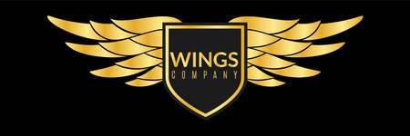 Gold wings logo. Creative sport or business success awards, angel or eagle wing metal shape, shiny luxury competition company winner badge, decorative heraldic golden emblem vector isolated element 矢量图像