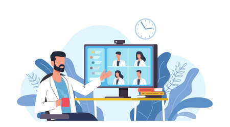Medical video conference. Online doctors meeting with computer app, web consultation. Internet working webinar with hospital specialist. Telemedicine diagnosis medic advice telehealth vector concept