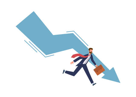 Panic businessman try stopping falling arrow. Business bankruptcy and unpaid loan debt company startup collapse, losing money and financial problem economic crisis concept vector illustration on white