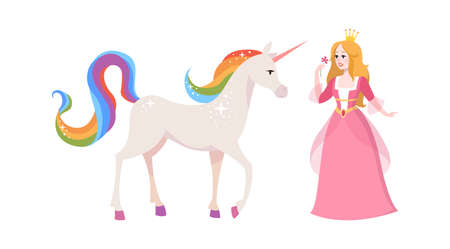 Princess and fairy unicorn. Cute cartoon female character in pink dress and tiara, white horse with rainbow tail and mane, adorable fantasy creature of kid fairytale flat vector isolated illustration 向量圖像