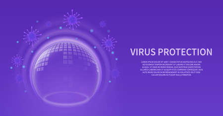 Bubble shield. Glowing transparent 3d sphere with pattern, virus barrier background. Infection protection purple horizontal banner, force energy field futuristic poster with copy space vector concept Ilustração Vetorial