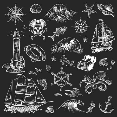 Pirate sketch set. Adventure hand drawn collection. Retro ship and compass, lighthouse and octopus, chest with treasure, chalkboard sea and ocean vector white illustration isolated on black background Ilustración de vector