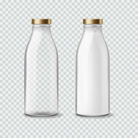 Milk bottle. Realistic empty and full bottles for water, juice and liquids, closed packaging with golden cap, 3d mockup of glass container for drinks. Blank product advertising template vector set