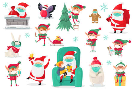 Cartoon christmas characters wearing medical masks. Santa, elves and animals in protect mask collection, antiviral protective measure, stop spread viruses and beware epidemic covid-19 vector set Vetores