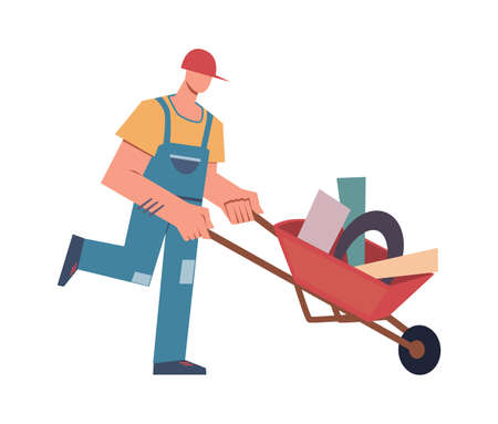 Builder with tools and professional equipment. Cartoon male character construction worker in helmet and uniform with wheelbarrow, building and renovation house vector isolated on white illustration