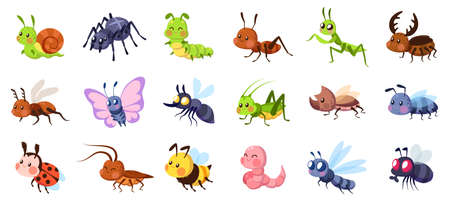 Cute cartoon insects. Funny little insect characters set baby snail, smile spider and caterpillar, little ant, colorful butterfly and comic dragonfly.