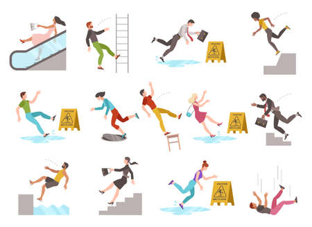 Falling people. People of different ages stumblng and jumping down stairs or ladder, slipping wet floor, injury fiasco men and women collection. Çizim