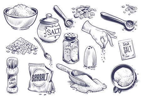 Hand drawn salt. Salting crystal, glass bottle with powder, spoon with spice, saltshaker sketch collection, himalayan or sea salt in engraved style set, cooking ingredient vector isolated illustration