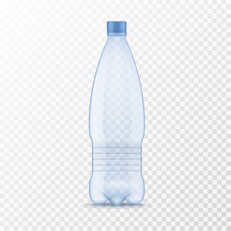 Plastic water bottle. Realistic container for mineral or soda drinks template, blue empty package with cap for different liquids mockup 3d vector isolated on transparent background single illustration