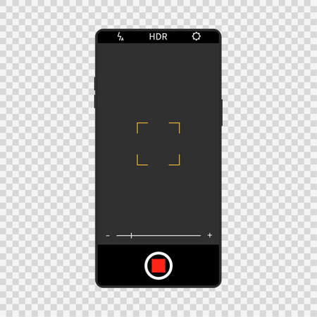 Camera screen interface on realistic smartphone. Mobile video and photo application design, camera viewfinders on black phone, photography snapshot display.