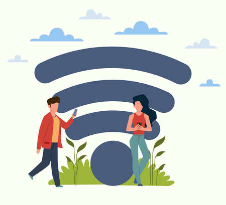 Free internet zone. Man and woman using smartphones outdoors, users in park, wifi hotspot good signal, public access area, online technology wireless connection sign.