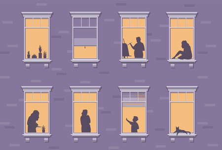 Neighbor characters. Windows with people stay at home, silhouettes of man and woman through the window, apartment building human at night.