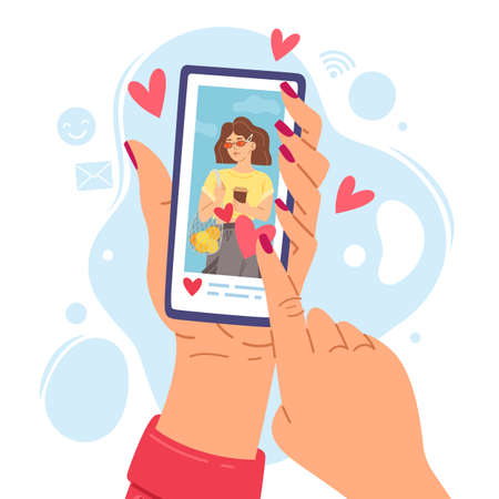Two hands holding phone. Cartoon girl smartphone screen gets likes, social networks communication sympathy expression, woman picture on device.