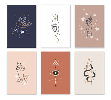 Female hands cards. Linear woman hand combination with mystic witchcraft elements in minimalistic style. 向量圖像