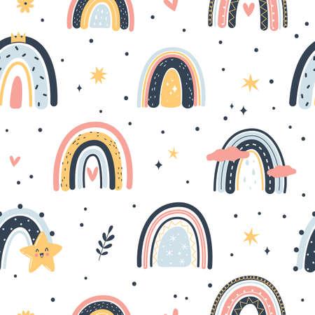 Cute boho rainbows seamless pattern. Hand drawn cartoon soft colors childish weather elements, rainbow and star nursery decor, color creative design textile. 向量圖像