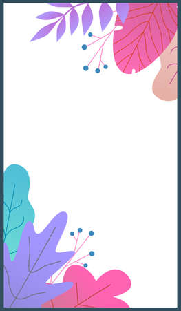 Botanical stories template. Modern flat vector layouts with leaves, branches and berries in purple and pink colors with copy space trendy design.