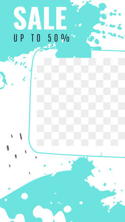 Cover frame for stories. Editable template white and turquoise stains and splashes of paint, abstract shapes with transparent layer.