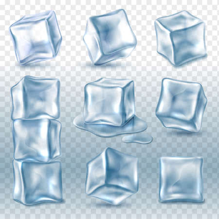 Ice cubes. 3d ice piece various angles collection, transparent frozen clear water blocks for cold drinks, glacial aqua objects pyramid, beverage cooling.