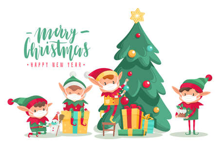 Christmas characters wearing masks poster. Cartoon vector elves in protective mask, decorated tree with new year gifts. Antiviral protective measure, stop spread viruses and beware epidemic covid-19 向量圖像