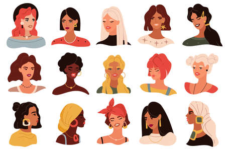 Female portrait. Women trendy images collection, modern multi ethnic girls heads icons, profile and full face with different hairstyles. Blonde, brunette and red hair girls vector isolated avatar set 向量圖像