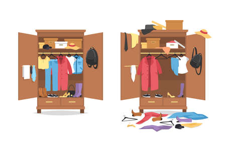Messy clothes in wardrobe. Garments before, after organization in wooden closet, organized and thrown clothing shoes and accessories, cleaning and storing things, female fashion vector cartoon concept