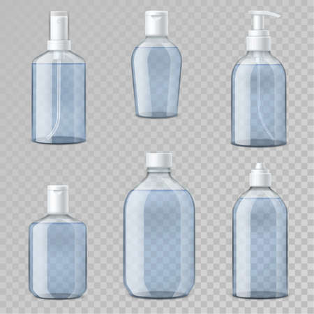 Hand sanitizer bottles. Realistic transparent vial templates, 3d plastic containers mockup with alcohol gel, hygienic dispenser and spray, antibacterial soap and lotion packaging. 向量圖像