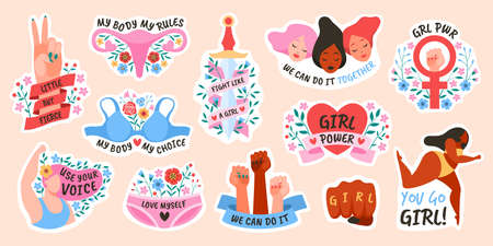 Girl power. Female movement feminist symbols, stickers or comic bubbles and slang words, short quotes grl pwr, body positive and gender equality.