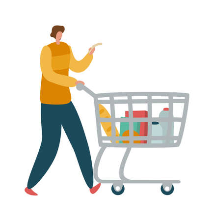 Man shopper with shopping cart. Modern male character with trolley full of products and grocery list in supermarket or mall, customer buying food concept flat vector isolated cartoon illustration