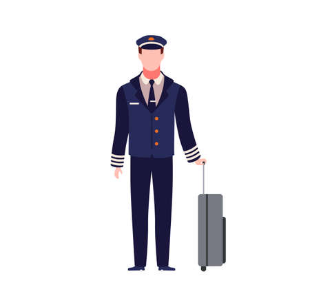 Pilot. Young capitan airplane. Male aircraft staff in dark blue uniform and hat with luggage, commercial journey trip and travel aviator, aviation profession flat vector cartoon isolated character