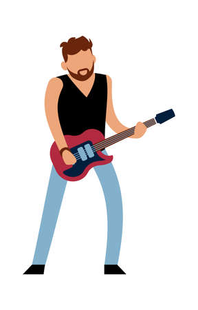 Rock or pop musician. Cartoon male guitarist character in jeans with red electric guitar plays melody, music show entertainment and hobby leisure activity concept vector cartoon isolated illustration
