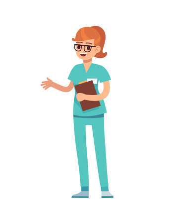 Woman doctor holding clipboard. Female doctor in green uniform and glasses, surgeon or pharmacist standing and smiling, dentist professional medic occupation, flat vector cartoon isolated character