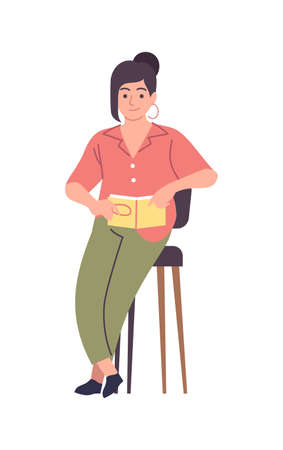Woman reading modern literature. Female character sitting on chair with book, smart student girl study knowledge with textbook, self education and library concept vector cartoon isolated illustration 向量圖像