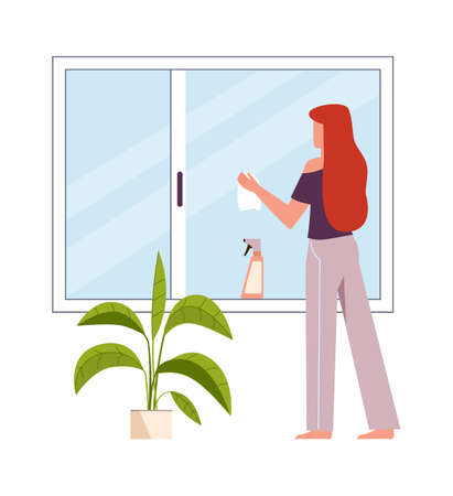 Woman washes window. Female character cleans windows with spray detergent, clean home and housekeep concept. Housework cleaning company service flat simple modern vector cartoon isolated illustration 向量圖像
