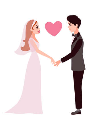 Bride and groom. Cartoon happy romantic couple hold hands, young wife and husband together, invitation to wedding ceremony greeting card template celebrating concept, flat vector isolated illustration 向量圖像