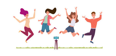 Friends make selfie. Happy men and women jumping smiling and taking photo on smartphone camera on grass in park, photography live stream or vlog making, shoot stories vector blogger cartoon characters 向量圖像