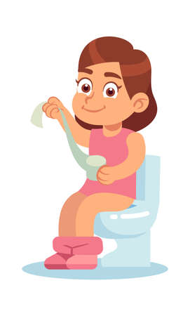 Girl in the toilet. Cute little baby sitting on potty with paper roll in her hand, home lavatory pan, kid every day routine body care and hygiene concept. Flat cartoon vector isolated illustration