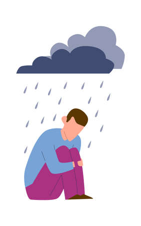 Sad mental ill young man. Depression or anxiety disorder, unhappy crying alone man under raining clouds, negative emotions or stress before psychotherapy concept, cartoon vector isolated illustration