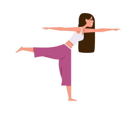 Yoga woman character. Athletic slim female character in sport uniform doing exercises pilates fitness and gymnastics, active girl in sportswear healthy lifestyle. Meditation in gym vector illustration 向量圖像