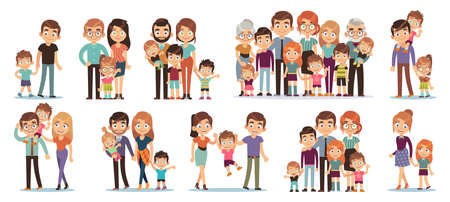 Cartoon family characters. Mother and father, son and daughter, grandparents and uncles, happy family people big collection, relationships and parenthood concept, vector flat cartoon isolated set 向量圖像