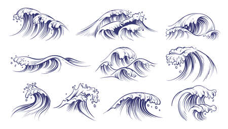 Ocean hand drawn waves. Sketch style sea storm blue water, curly foamy splashes, tsunami and tide vintage collection, surfing and beach season decorative surge wave vector marine isolated on white set