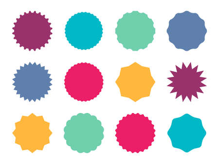Starburst colorful badges. Color star sticker price tag, sale simple emblem and blank label, round promotion decoration empty element with copy space collection, vector isolated on white illustration
