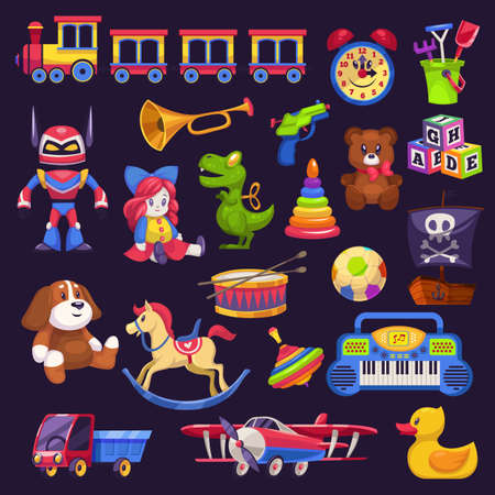 Baby toys. Kid game bear and car, pyramid and train, plane and lorry. Plush, wooden or plastic for boys and girls colorful toy collection kindergarten and home games flat cartoon isolated illustration
