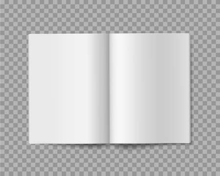 Open book. Realistic blank empty booklet, brochure or magazine template, soft cover album or journal, presentation and advertising paper white sheets vector mockup isolated on transparent background 向量圖像