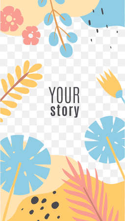 Stories with tropical leaves. Exotic flat vector layouts with leaves, branches and berries in yellow and blue colors with copy space trendy design for social media marketing, digital post and banners 向量圖像