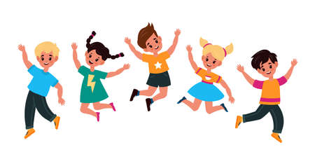 Kids jumping. Happy smiling children play and jump together, adorable active boys and girls group celebrate event little friends have fun in kindergarten vector cartoon flat childhood isolated concept 向量圖像